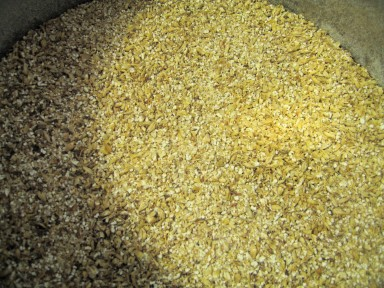 Malted barley after milling