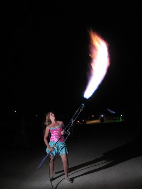 Sizzle and her flamethrower