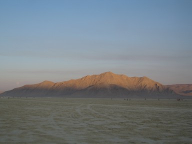 The sun sets on the playa