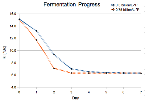 The gravity of the two beers over time, as indicated by (uncorrected) refractometer readings.
